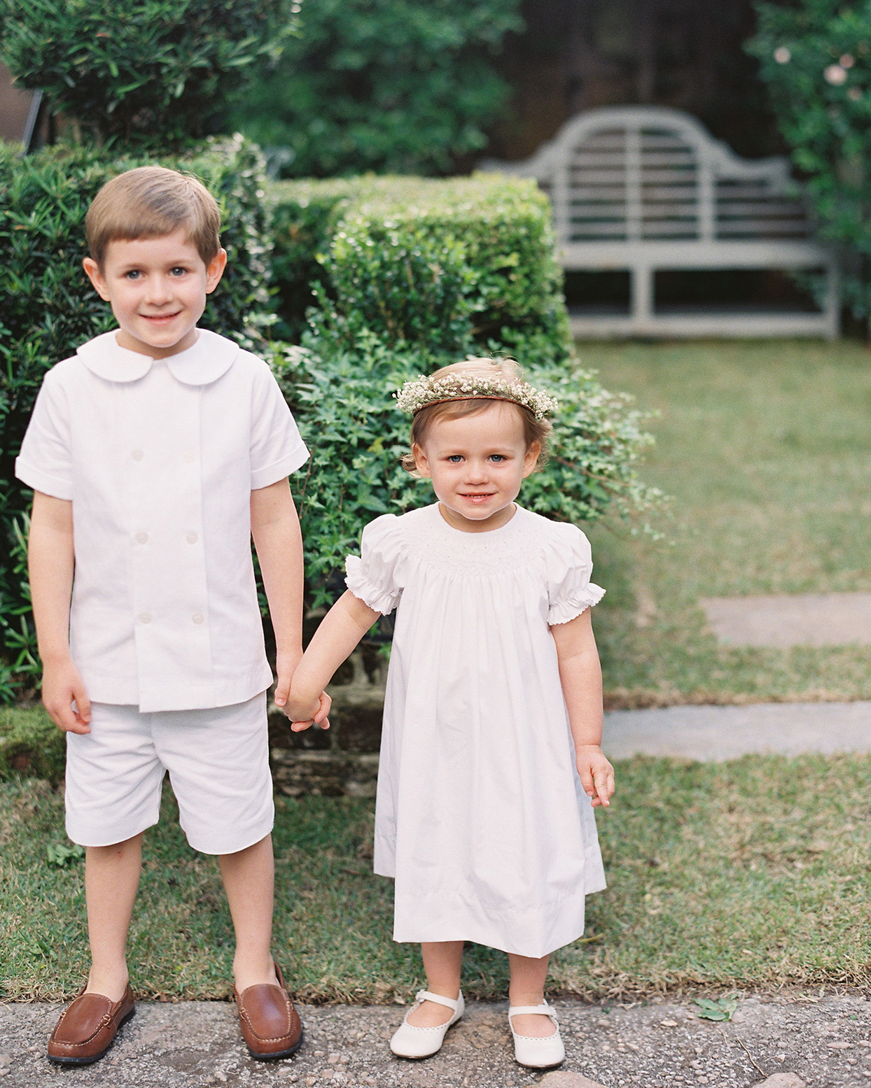 beverly steve wedding children dressed in white