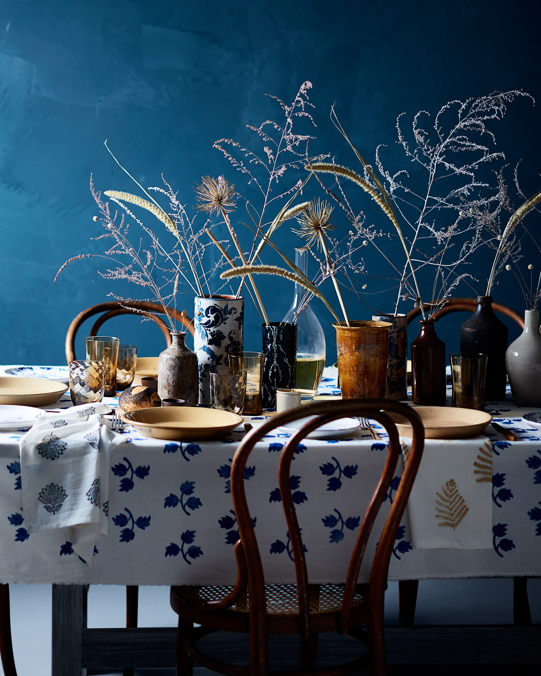 blue dining table for Thanksgiving