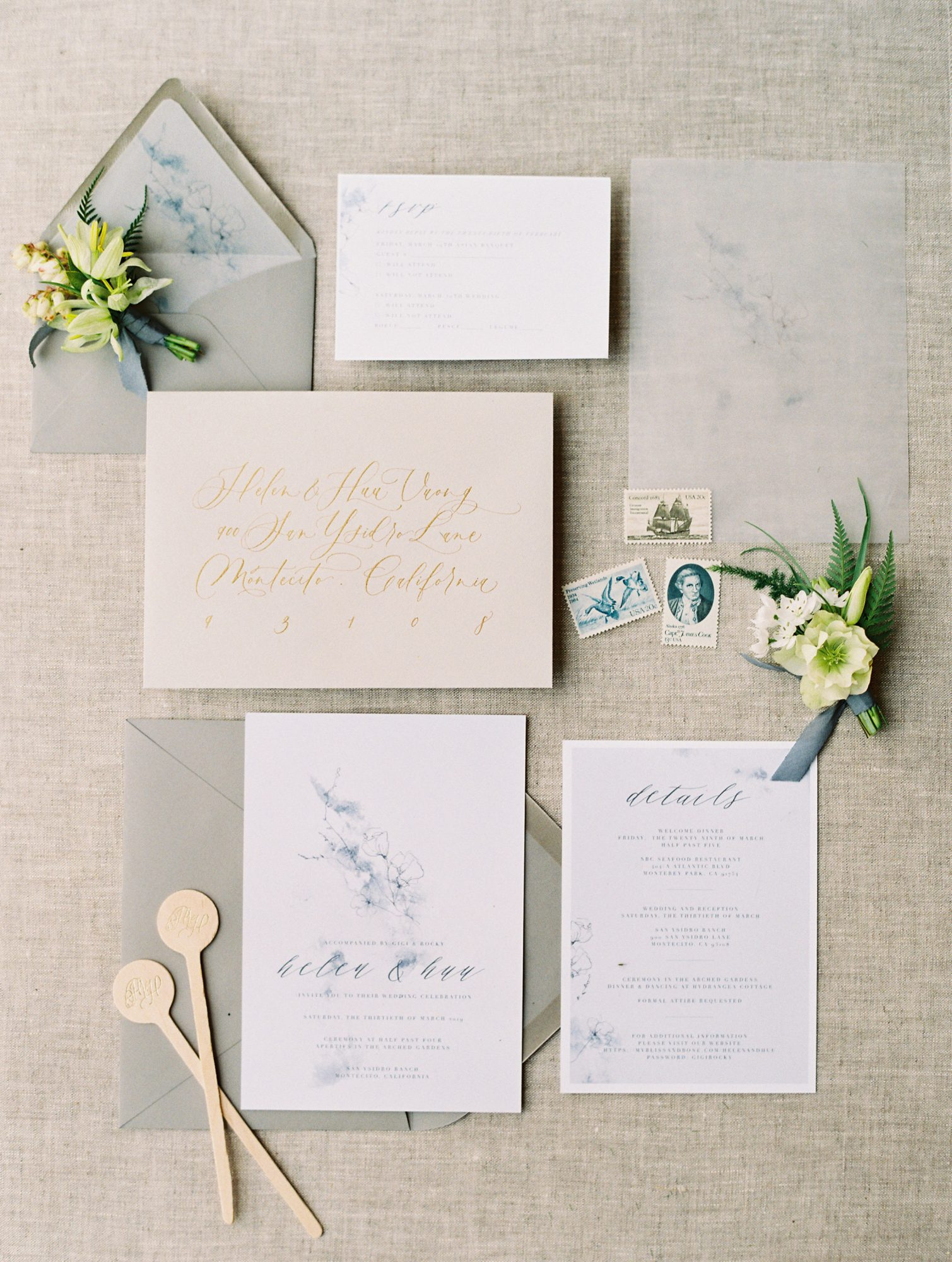 beige and blue gray stationery suite