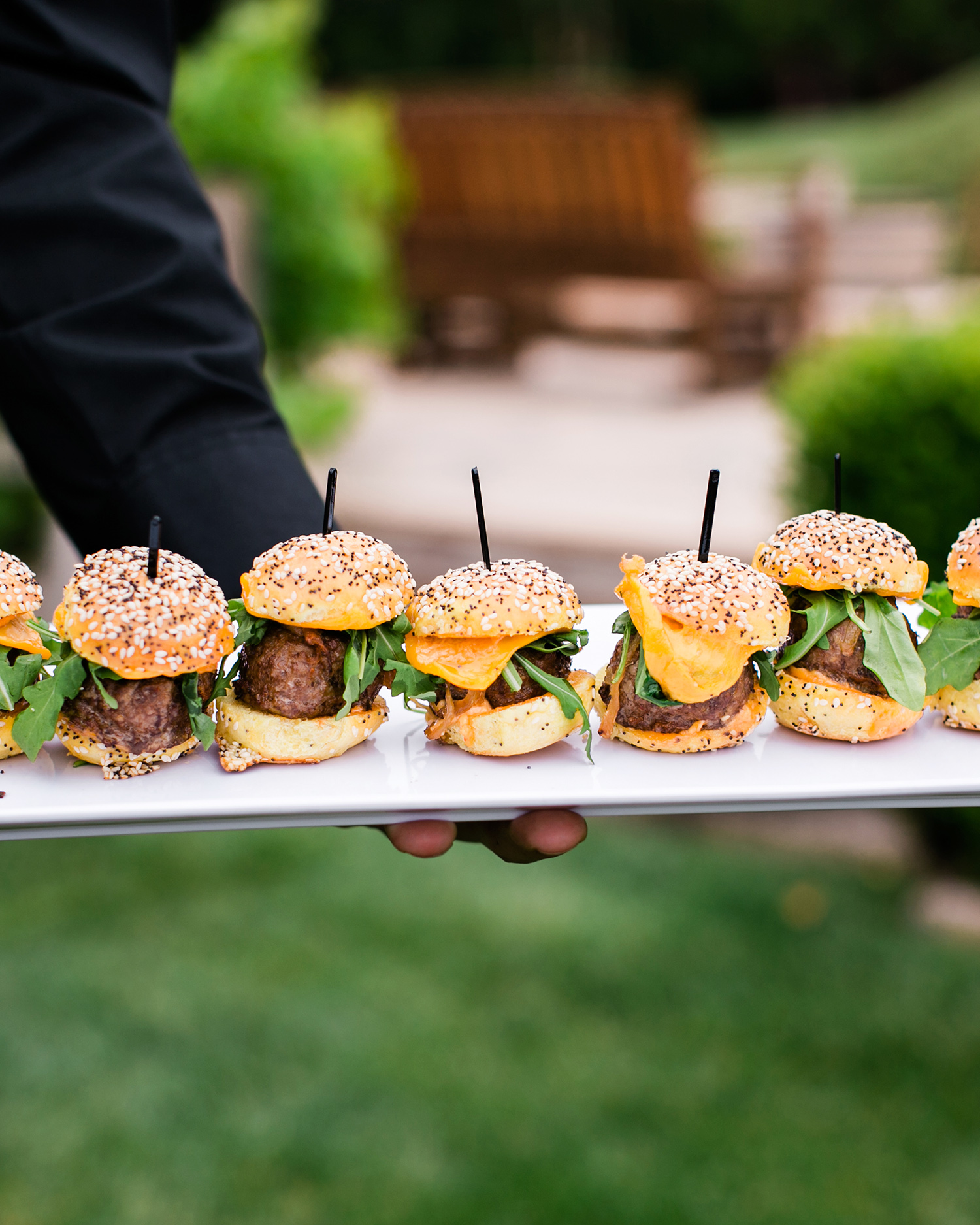 david tim wedding food burgers on long plate