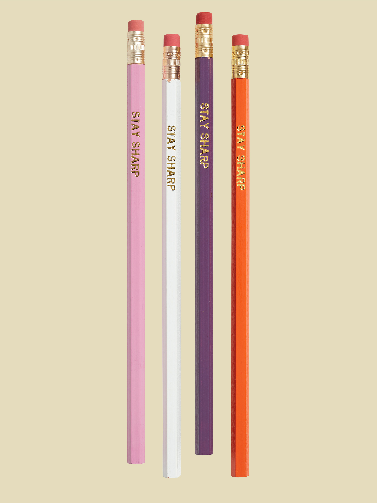 four pencils that say stay sharp