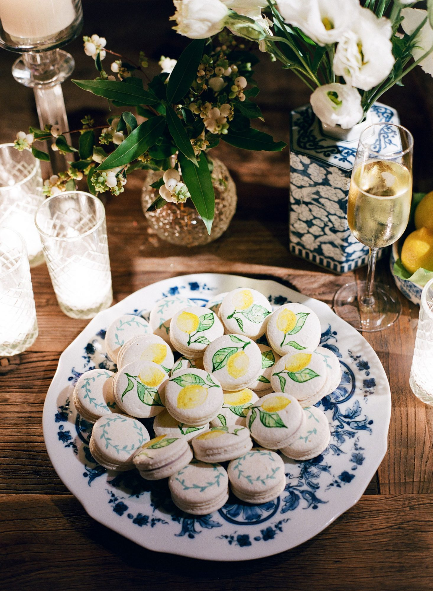 plate of hand decorated macaroons