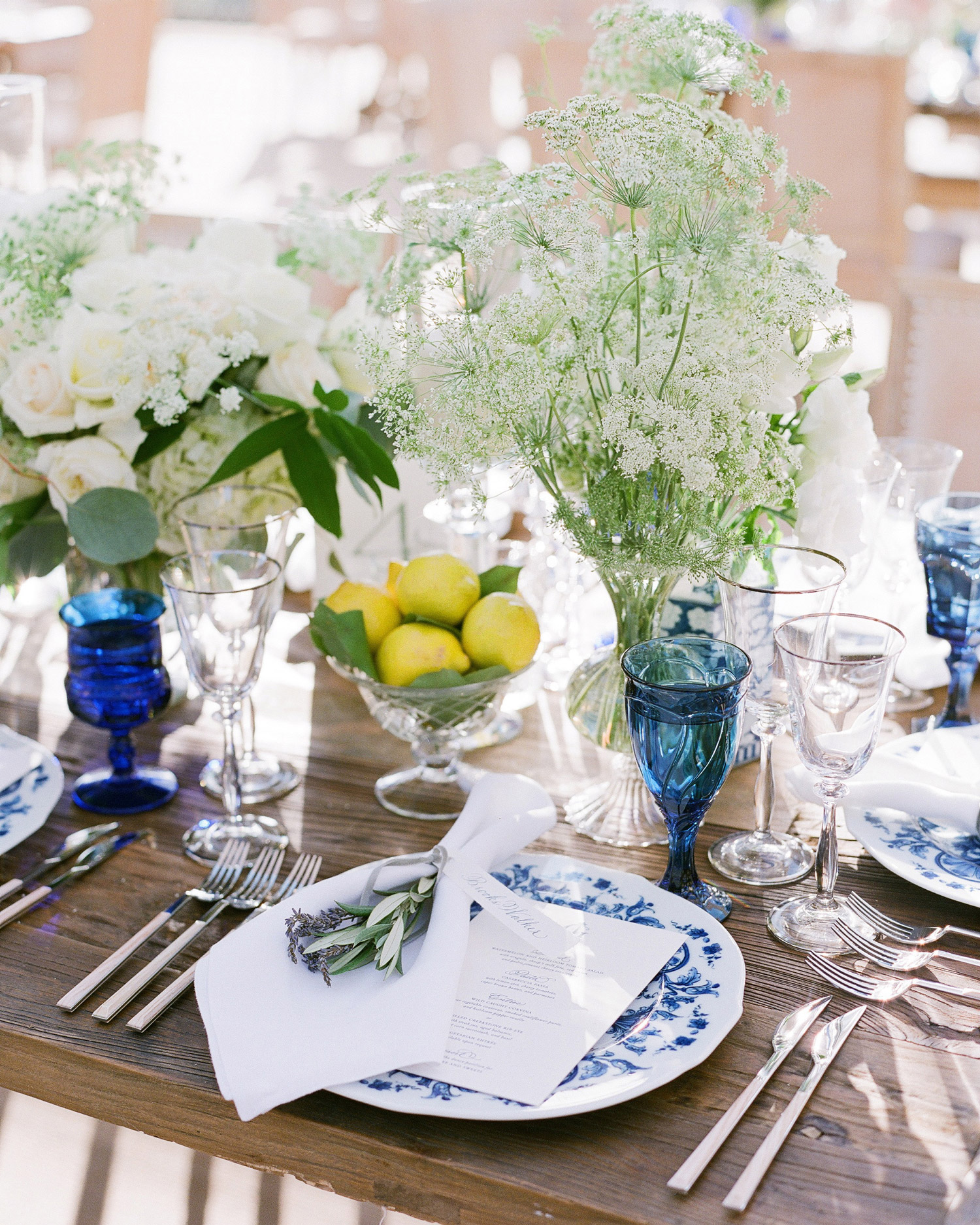 reception white and blue place setting