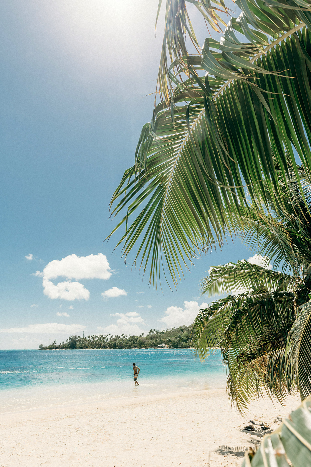 french polynesian beach wth man in the water