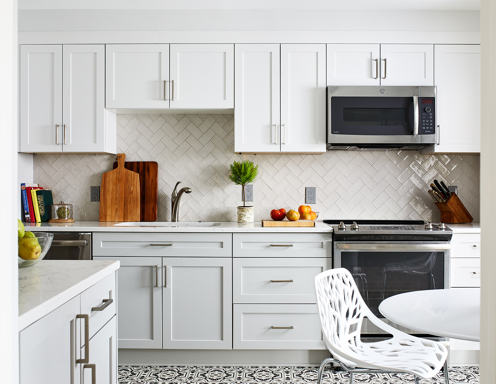 white herringbone backsplash