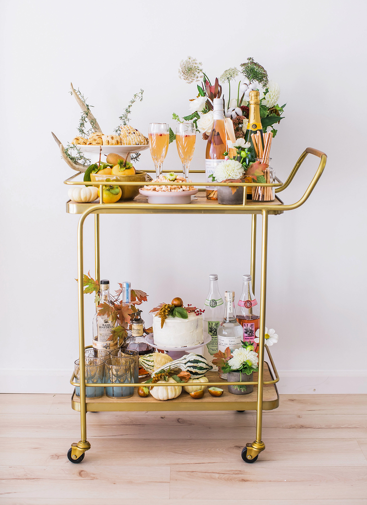 fall decorated gold bar cart