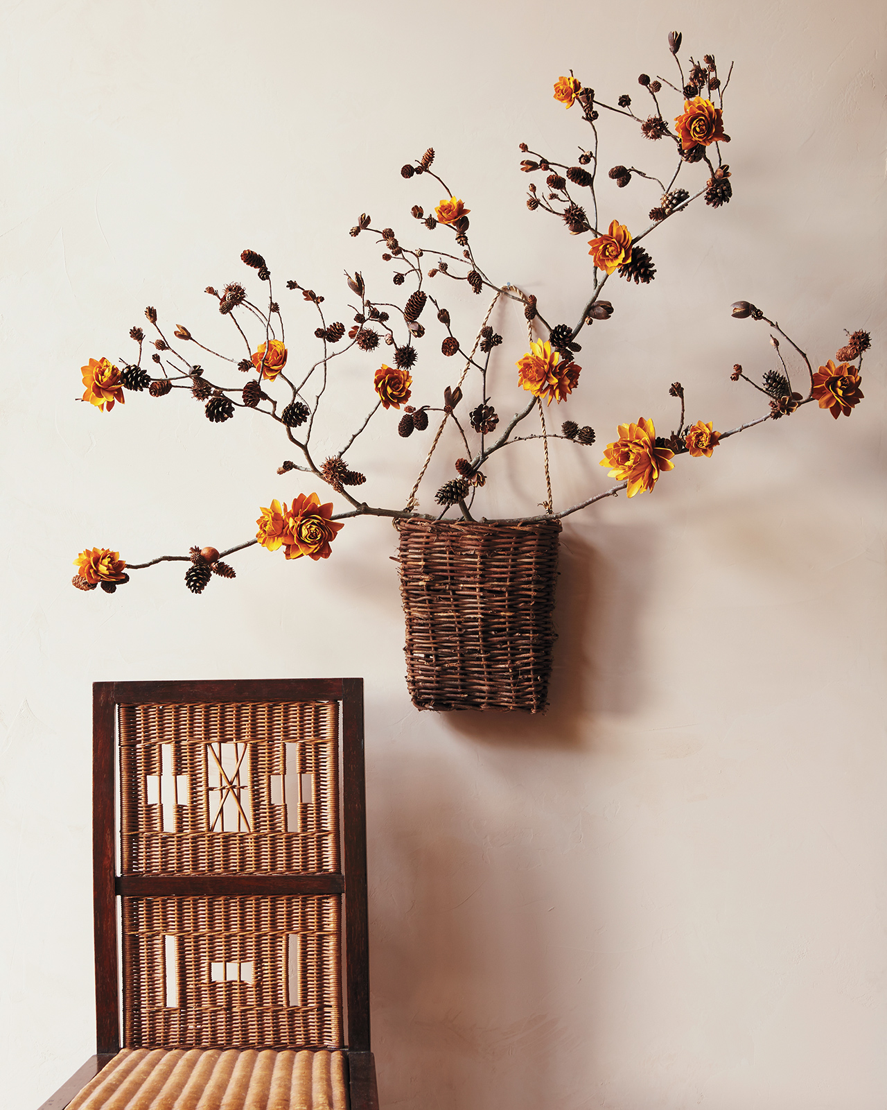 hanging basket fall flowers wicker chair