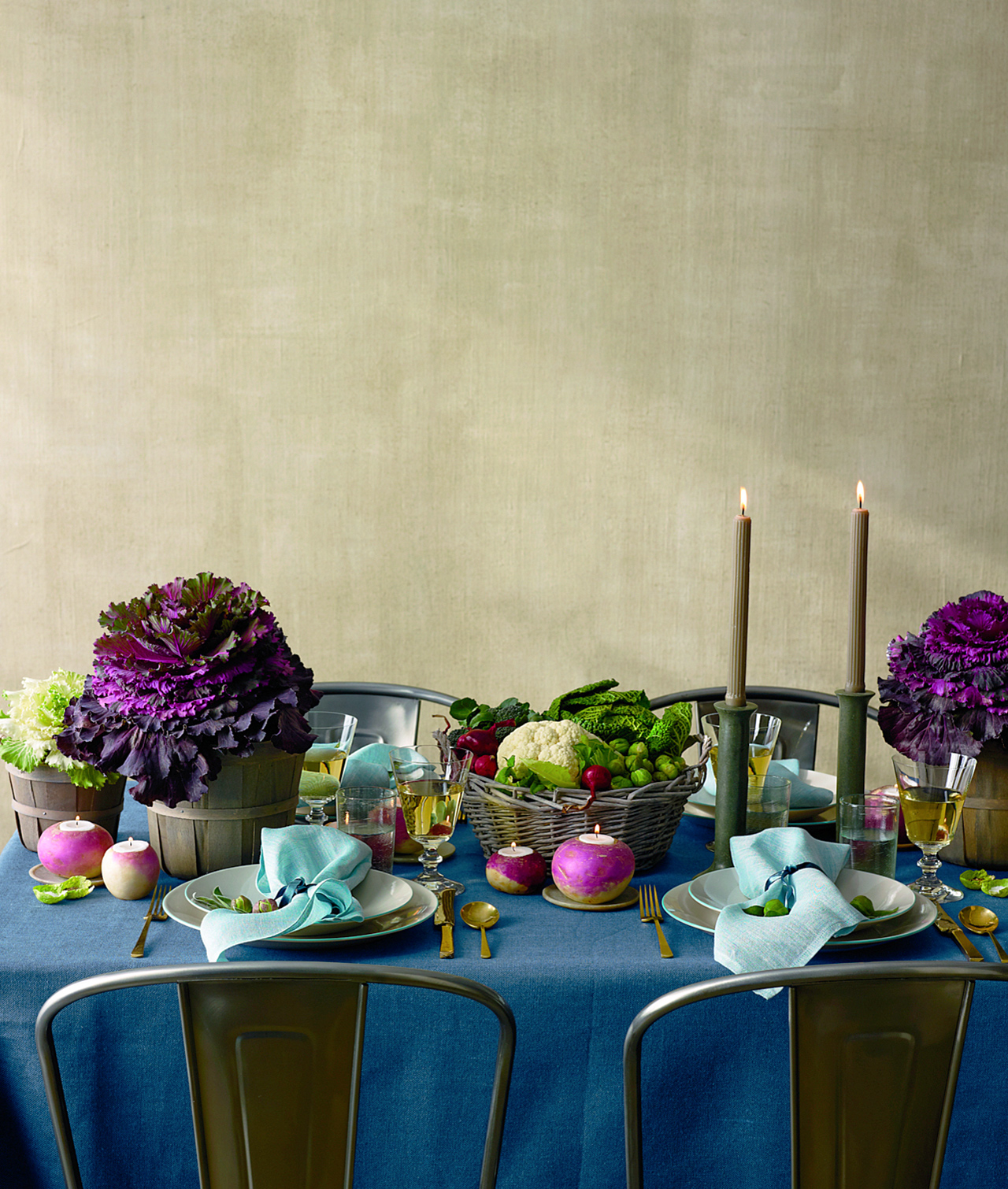 thanksgiving table setting turnip votives