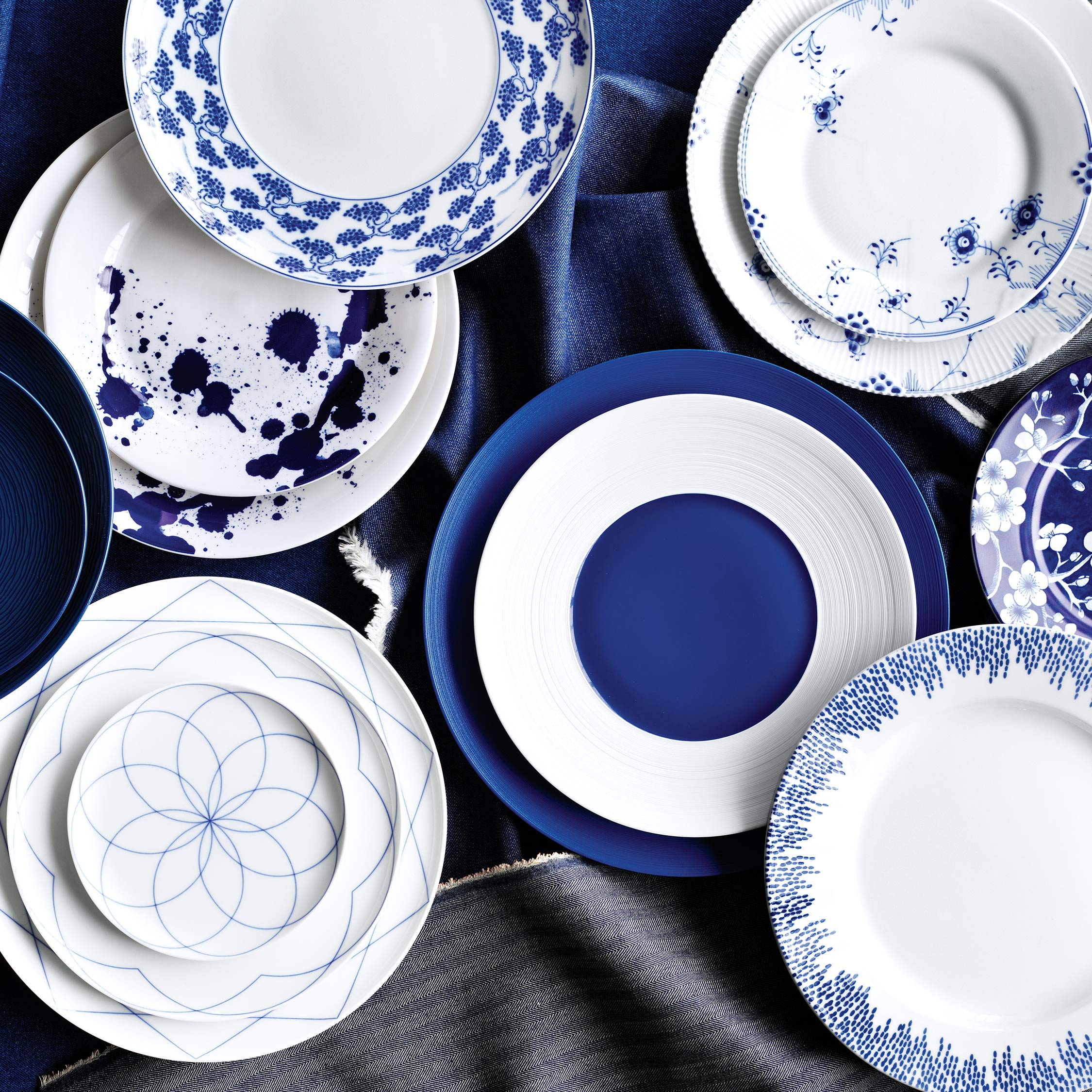assortment of indigo pattern plates