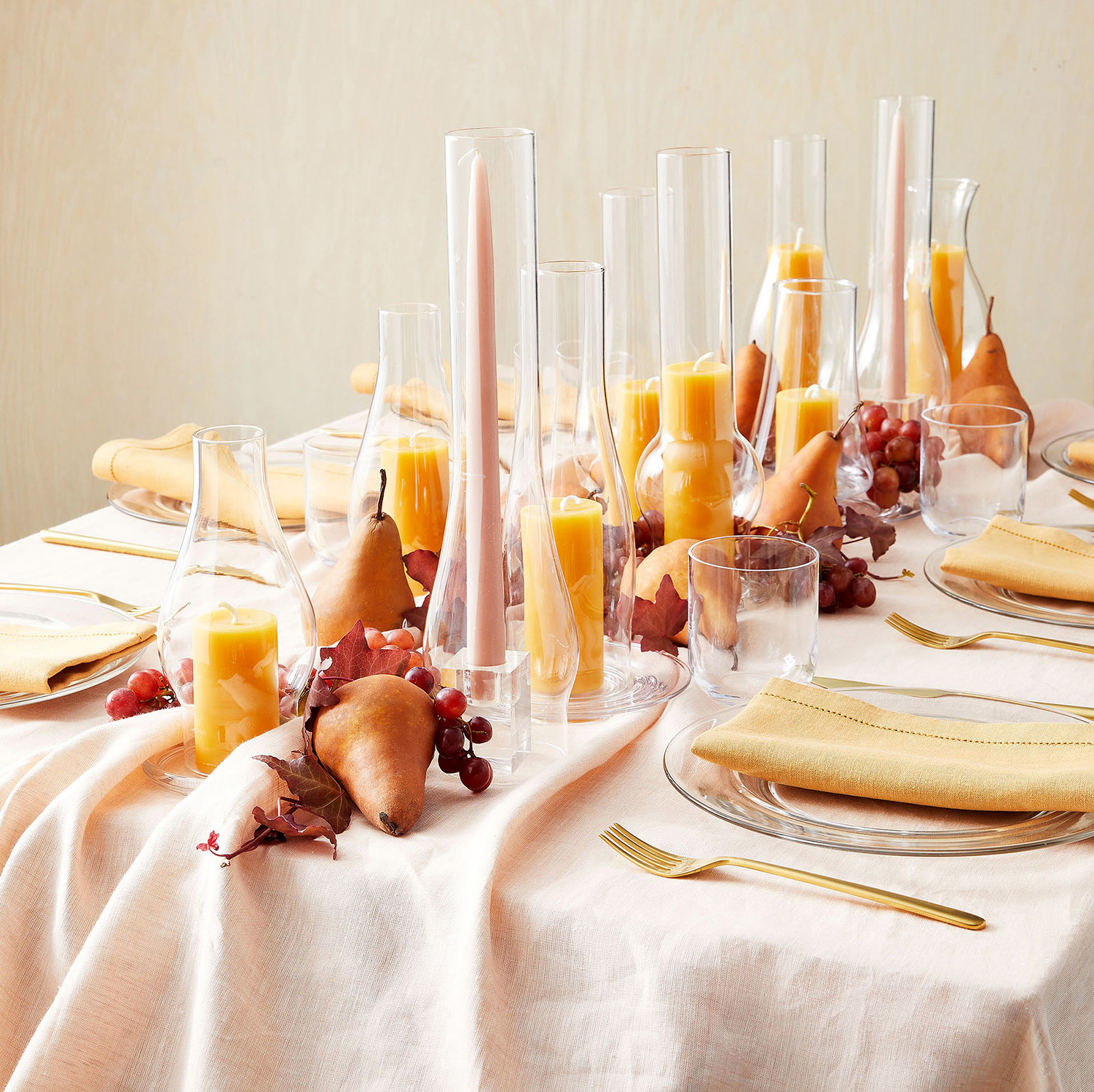 fall table settings candles centerpiece