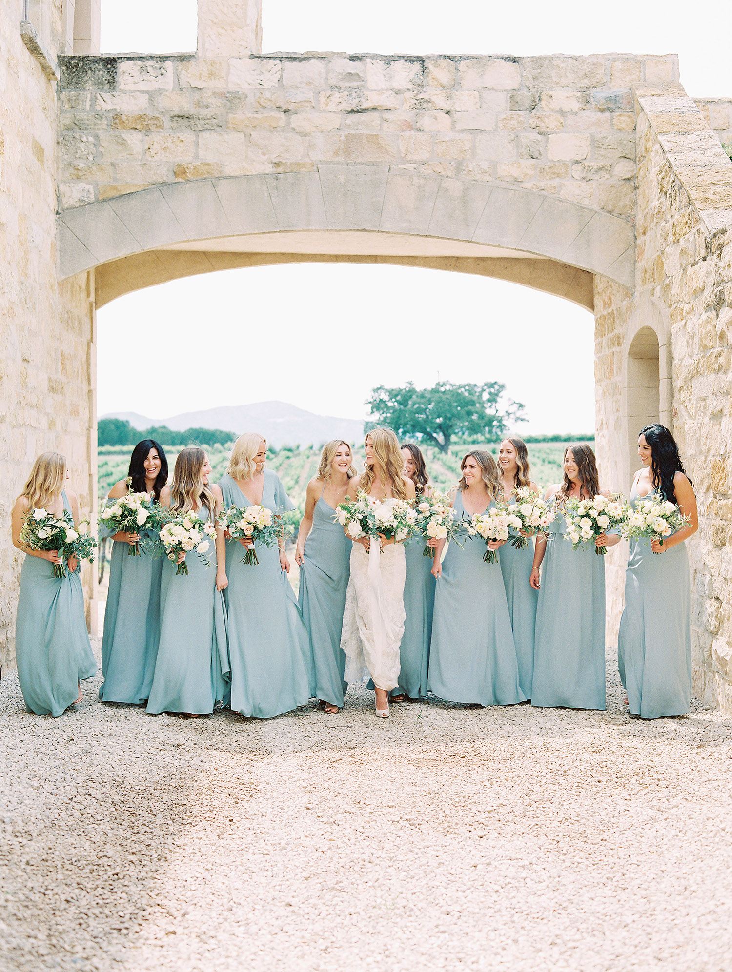 kati erik wedding bride bridesmaids in blue