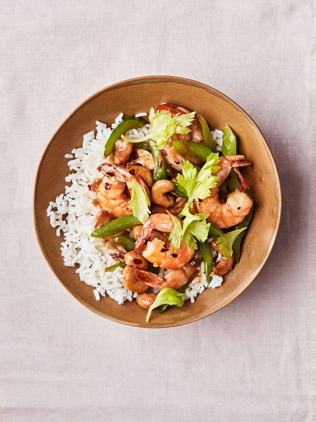 spicy cashew shrimp with rice