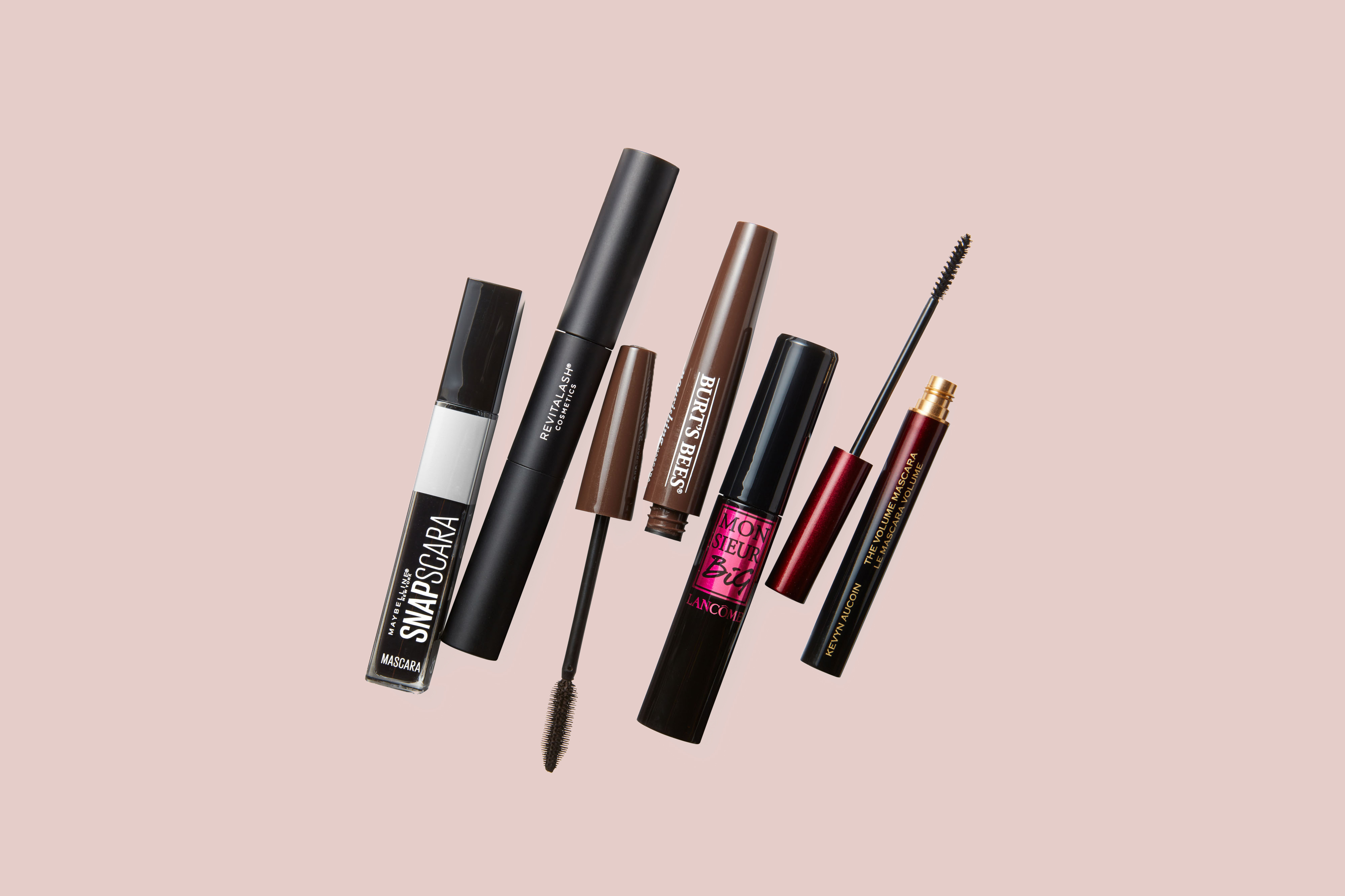 group of five different mascara brands