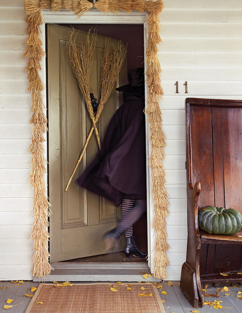 broom garland witches door way decoration