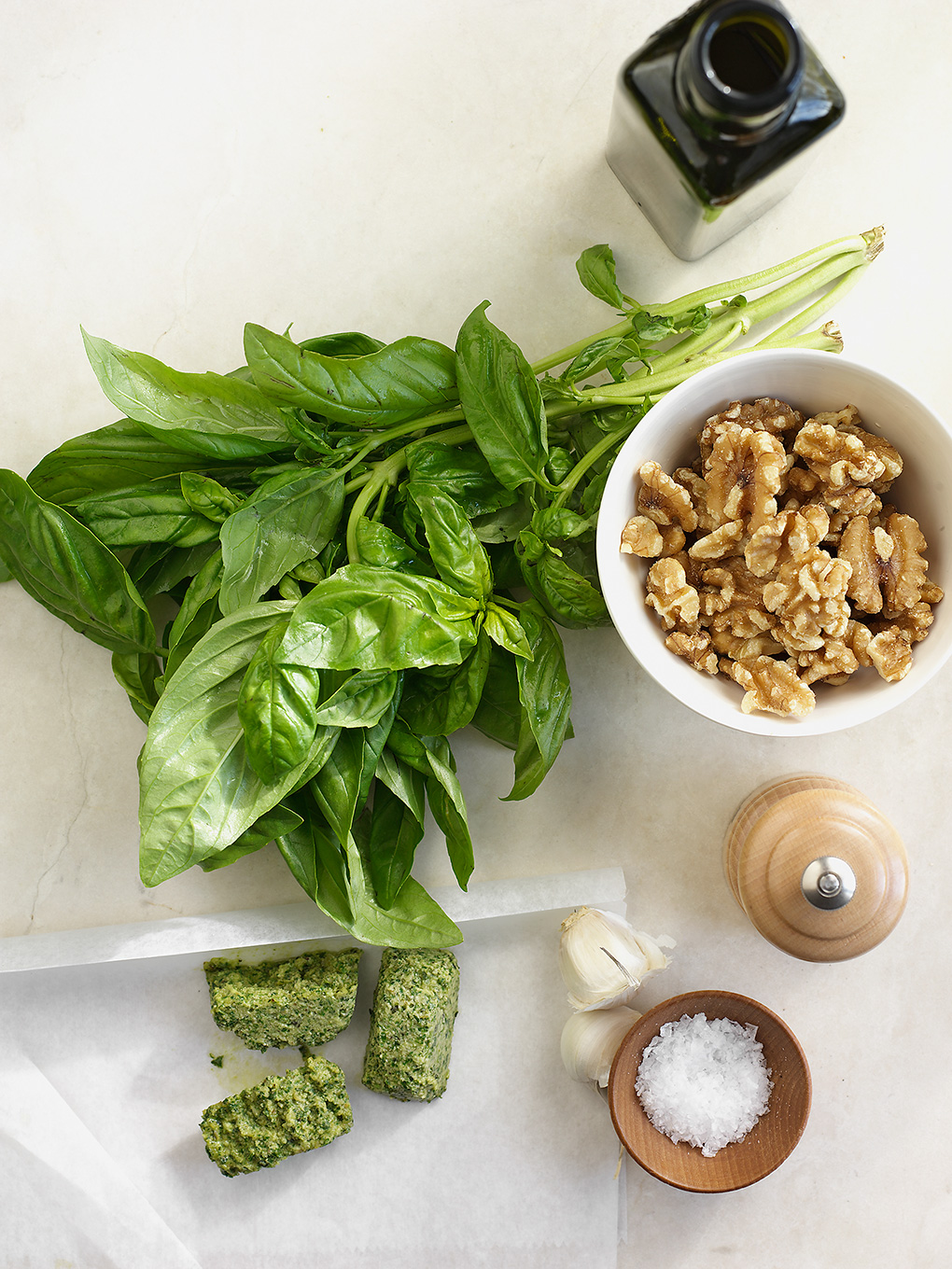 Fresh Basil on Cutting Board with Nuts