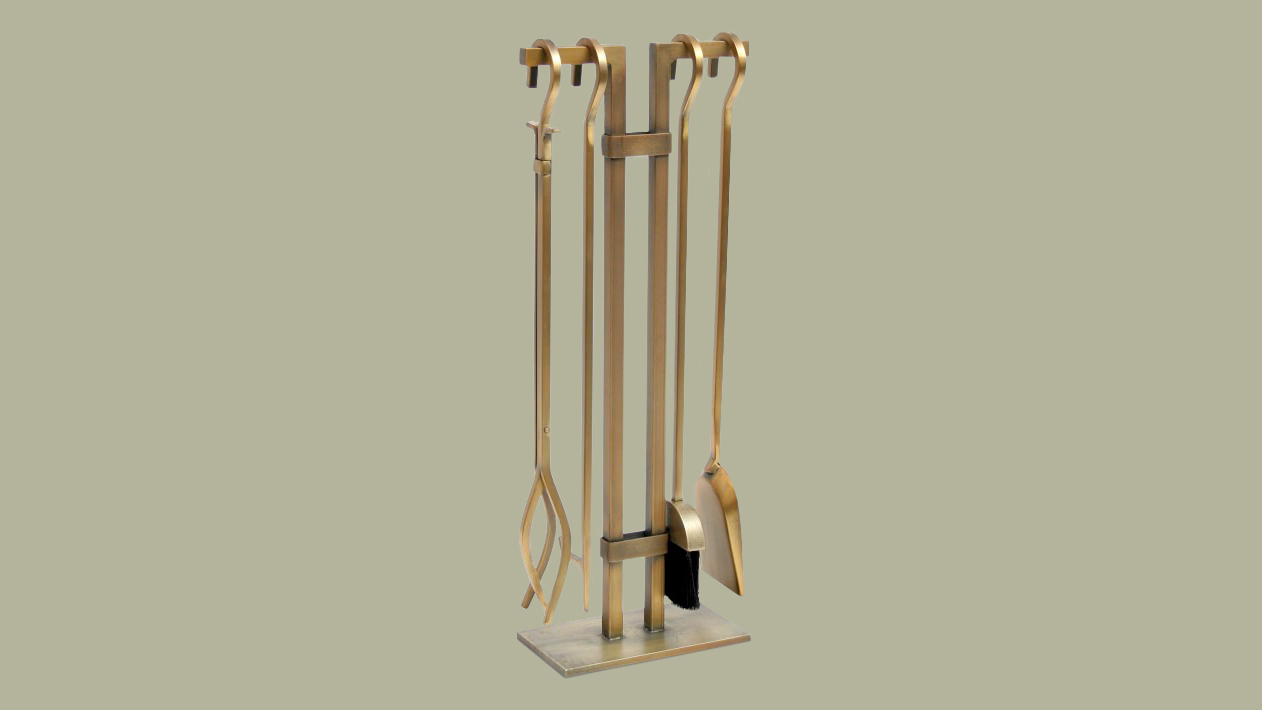 gold fireplace tools and stand