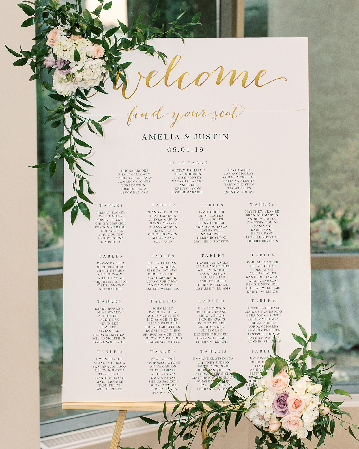 amelia justin wedding seating chart board with flowers