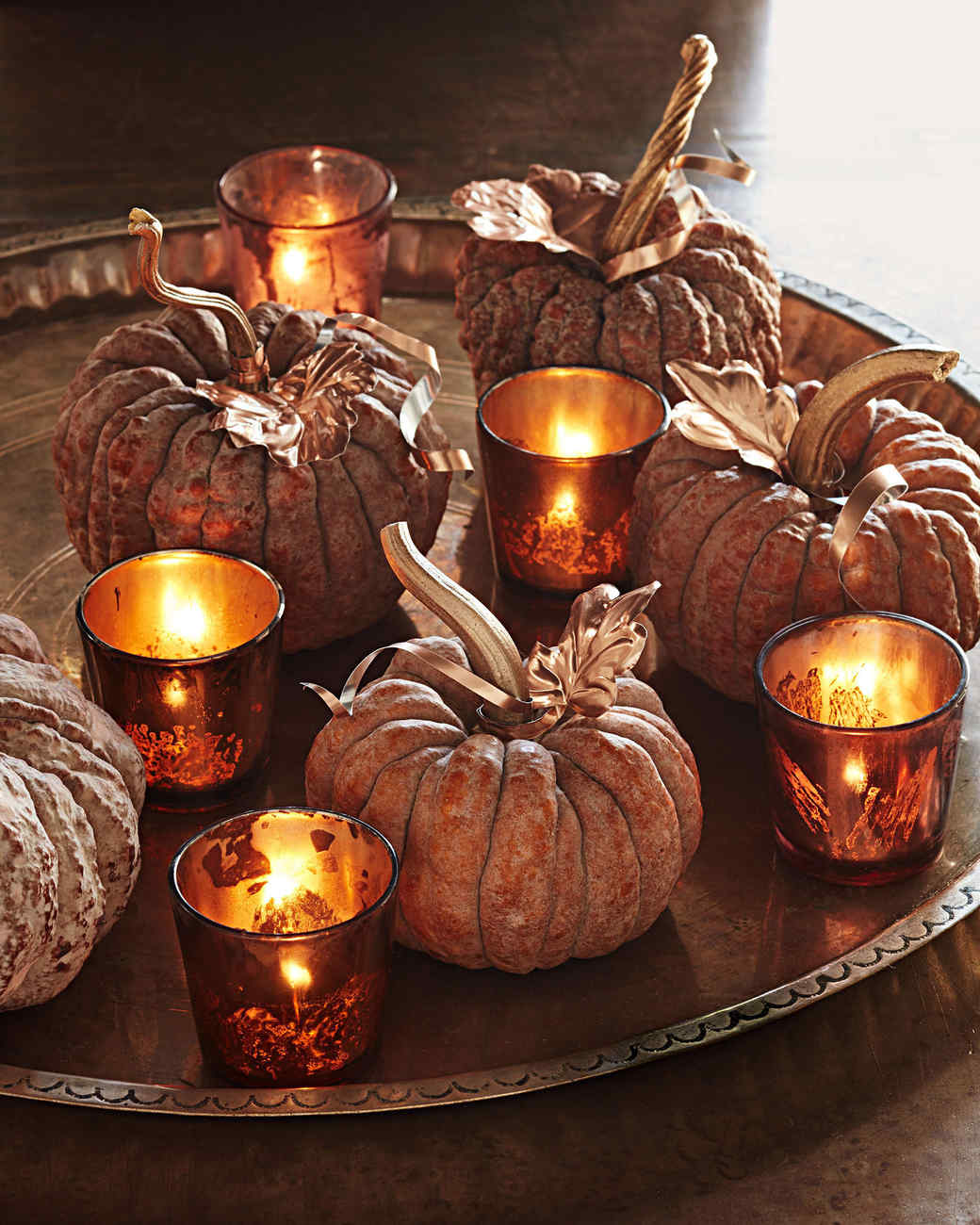copper leaf pumpkins as a Halloween centerpiece