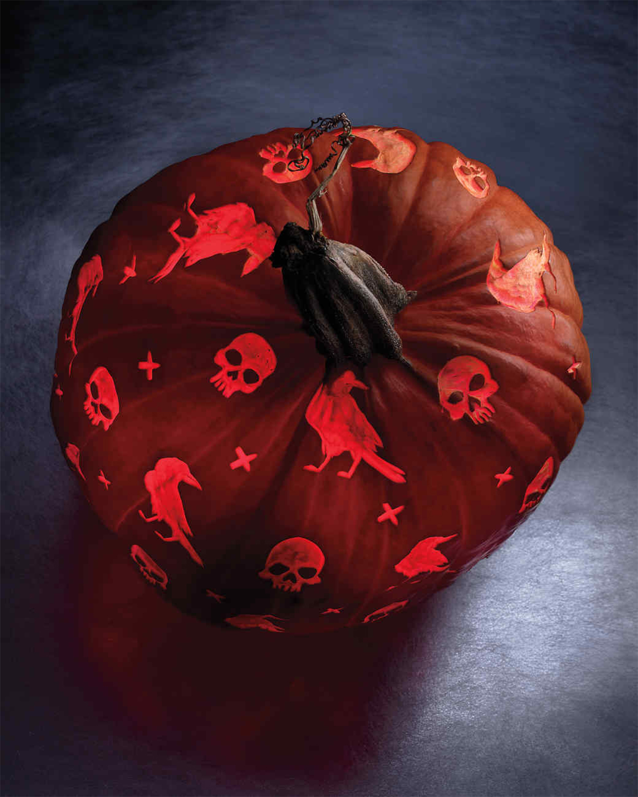 skull and raven checkerboard patterned pumpkin