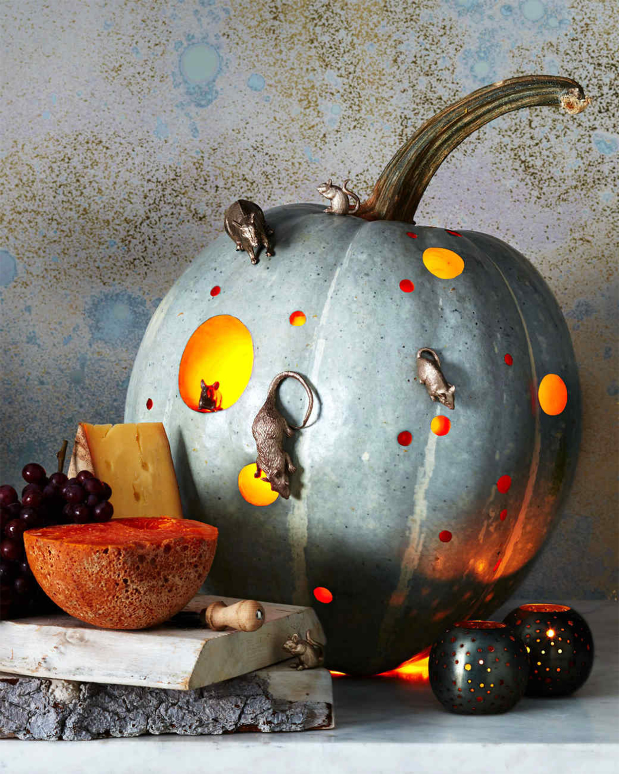 polka dot patterned pumpkin adorned with mice
