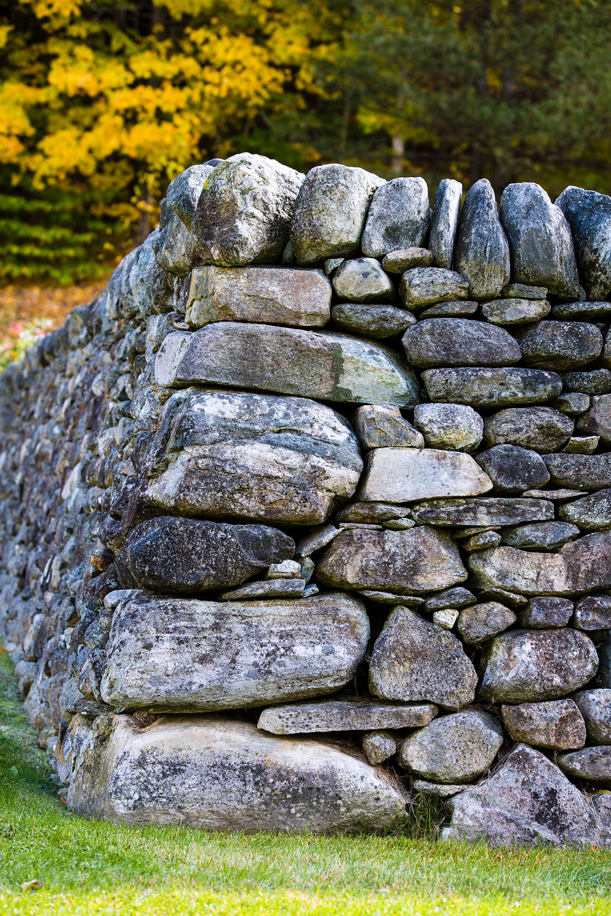 large stone wall at corner