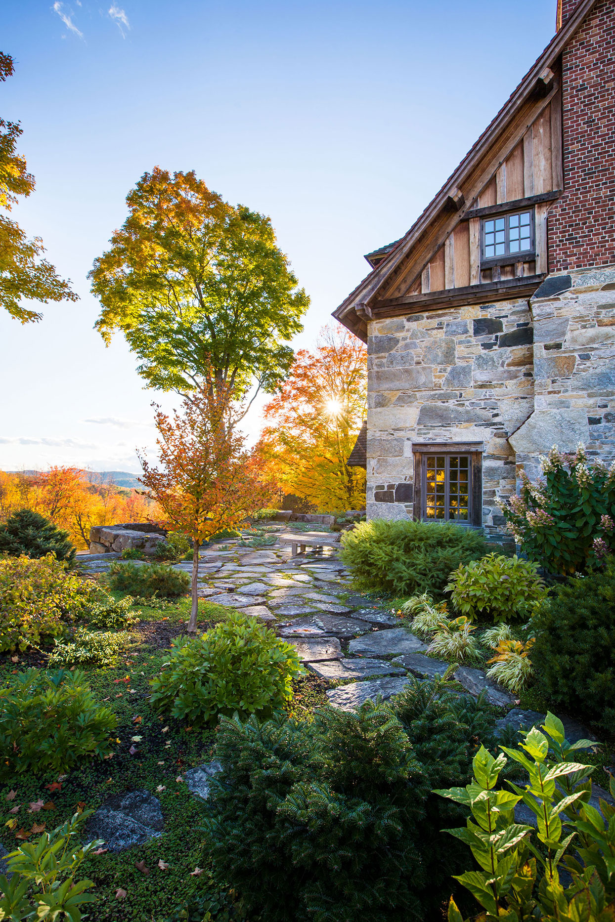 vermont house terrace with fall leaves