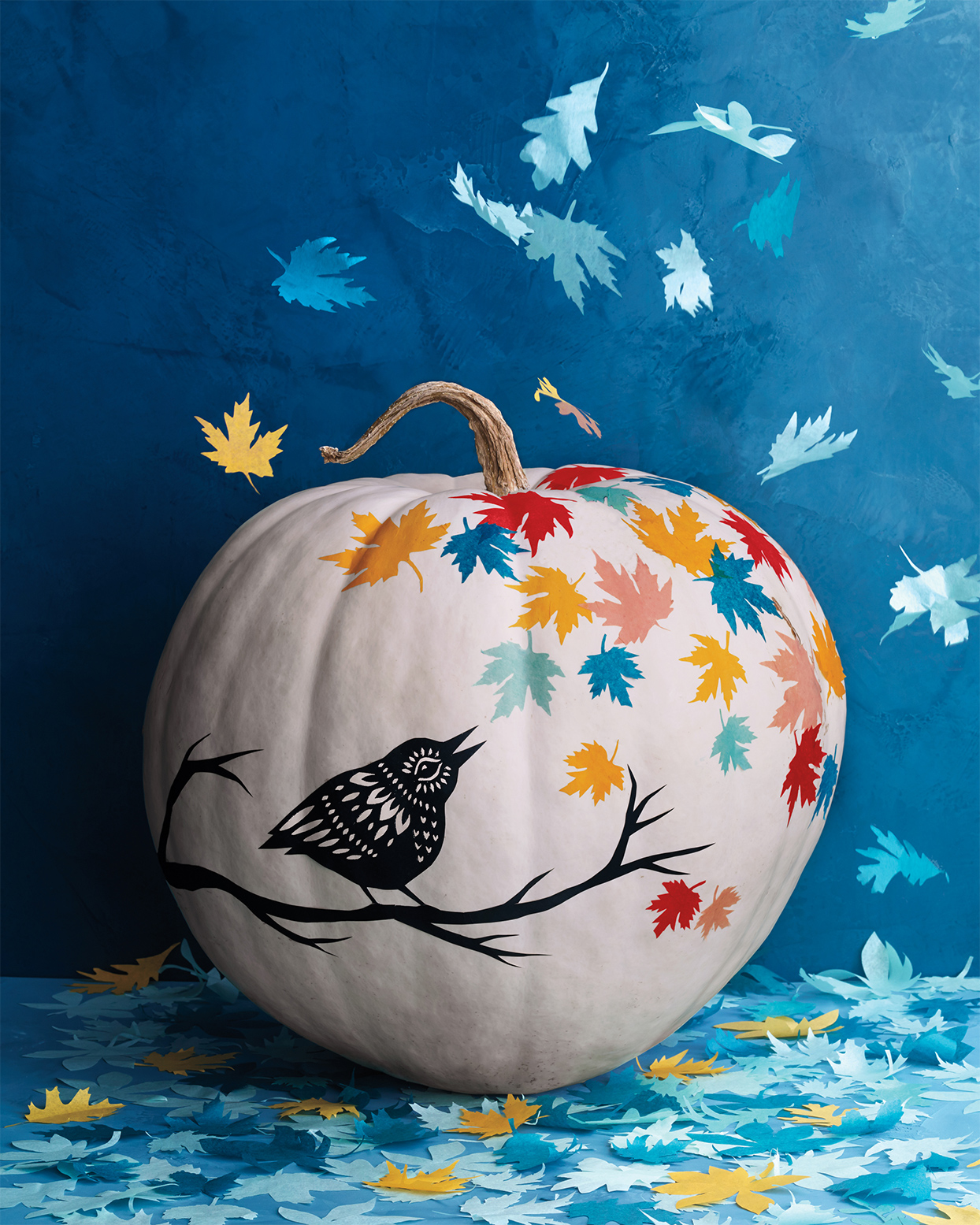 Colorful Decoupage Pumpkin