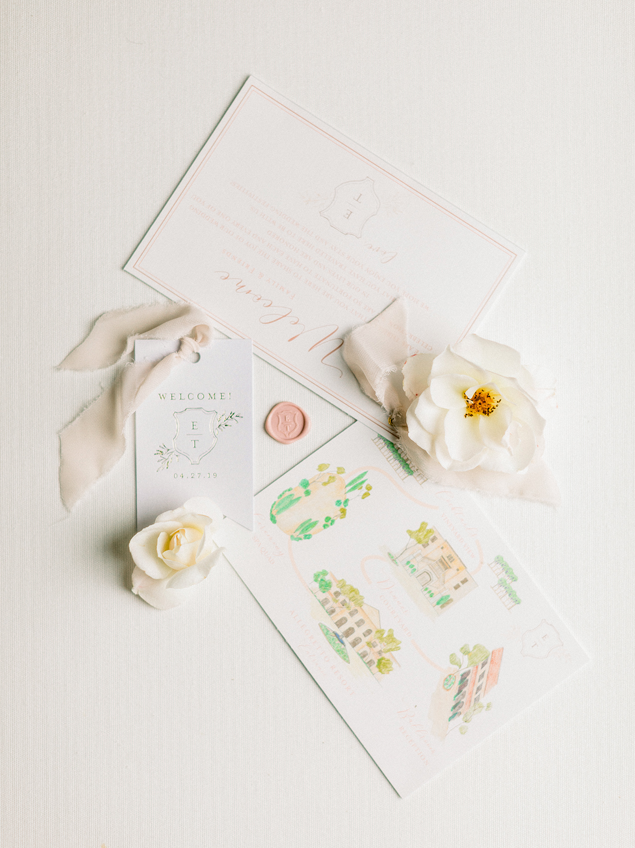 wedding welcome cards color resort map