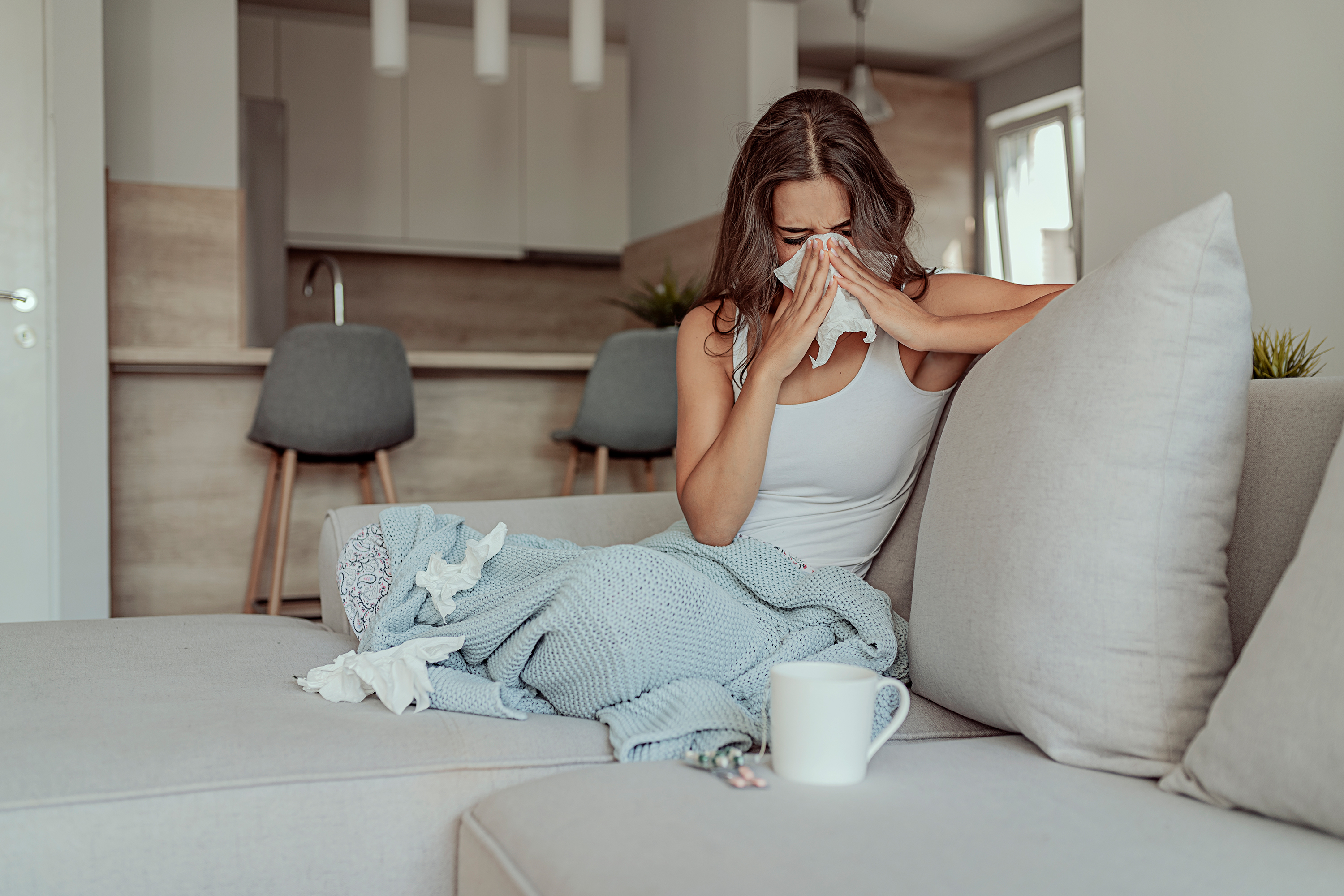 Sick woman on the couch