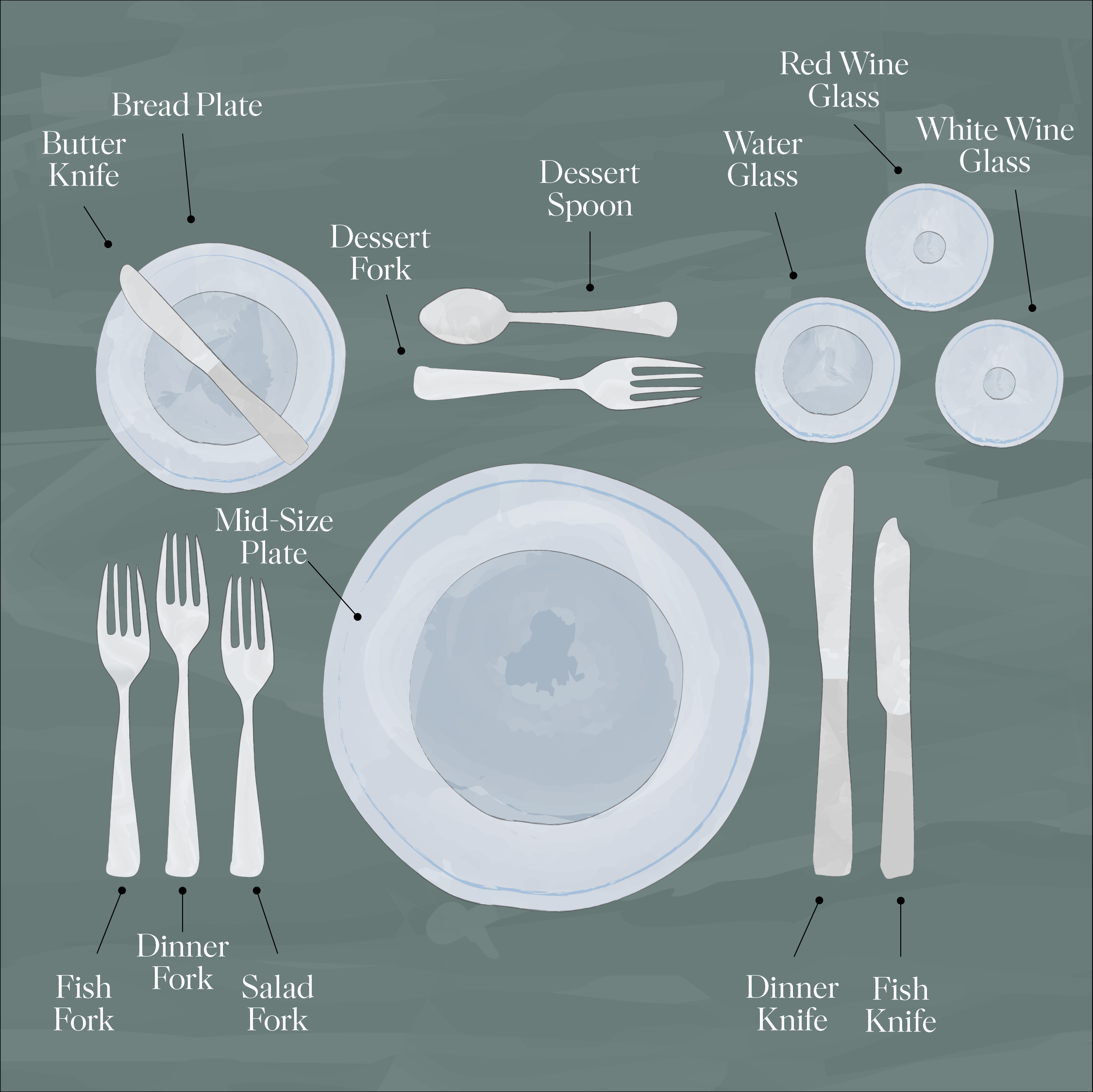 Formal Dining Table Setting Illustration