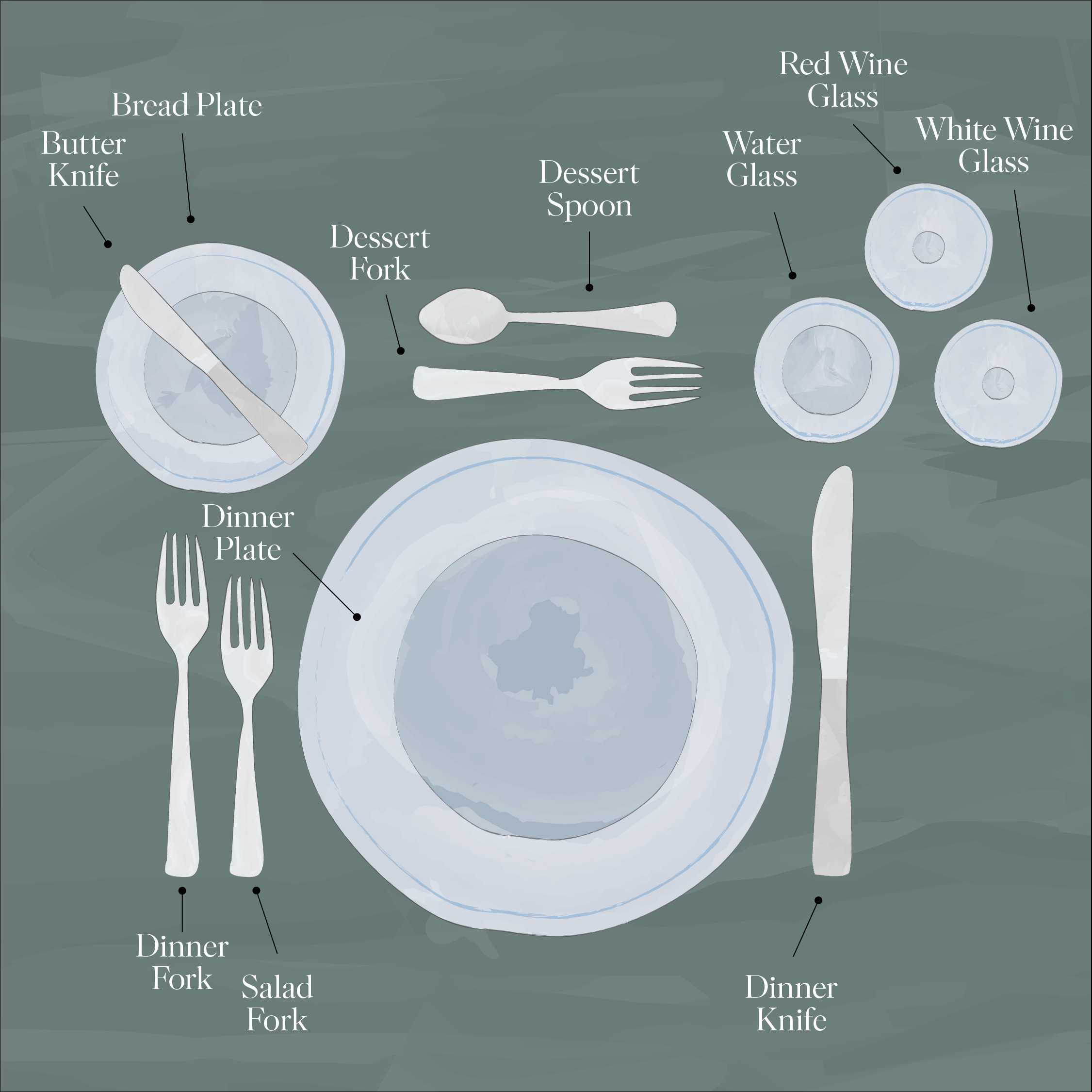 Formal Dining Table Illustration for Main Course