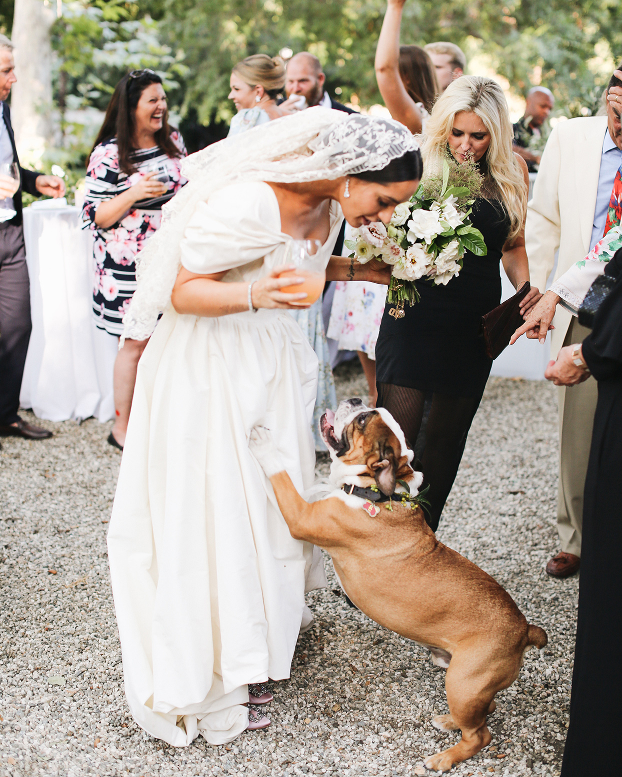pia davide wedding bride with dog