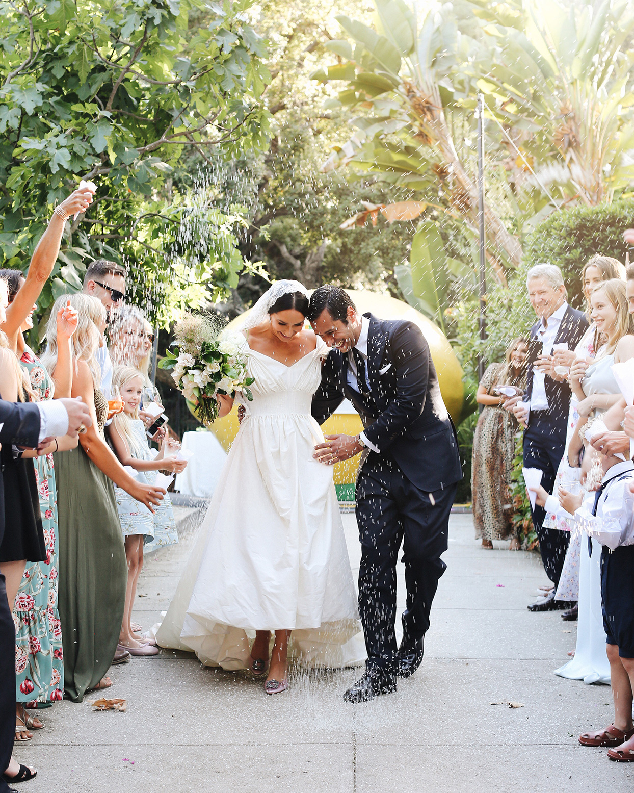 pia davide wedding recessional petal toss