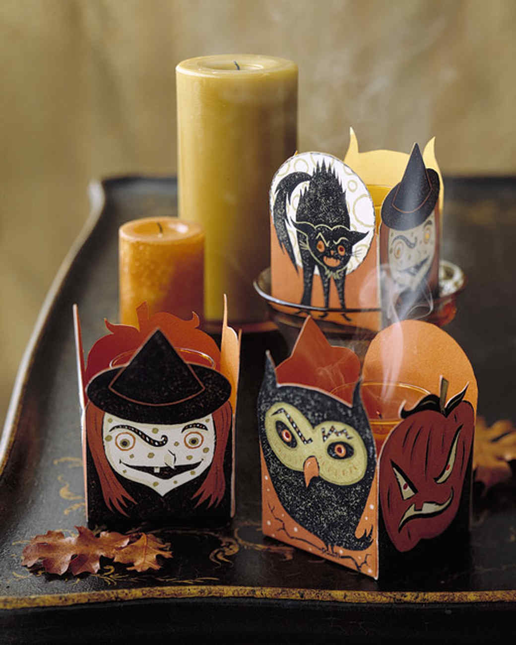 Halloween paper clip-art candle votives