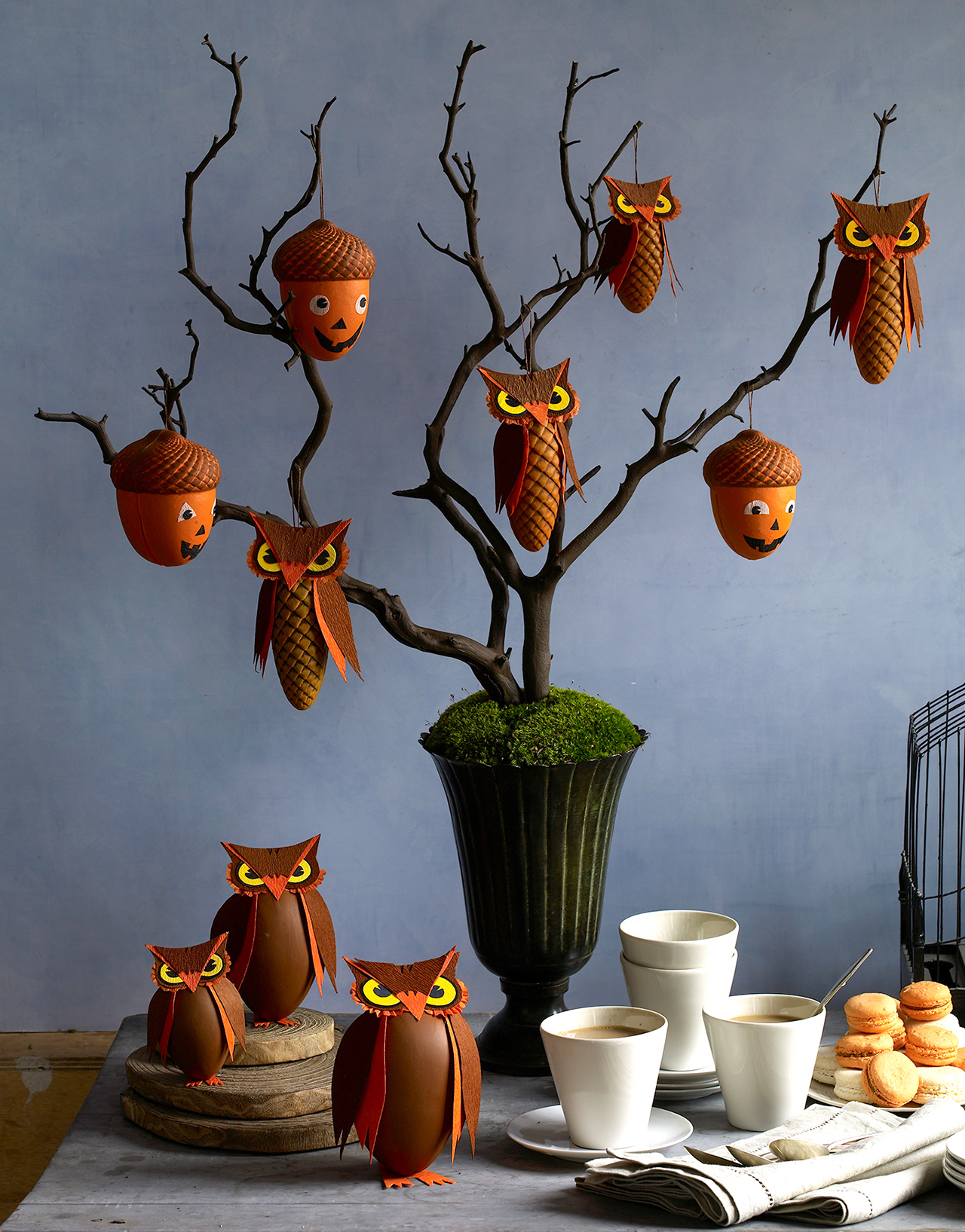 hanging halloween owl and acorn treat boxes