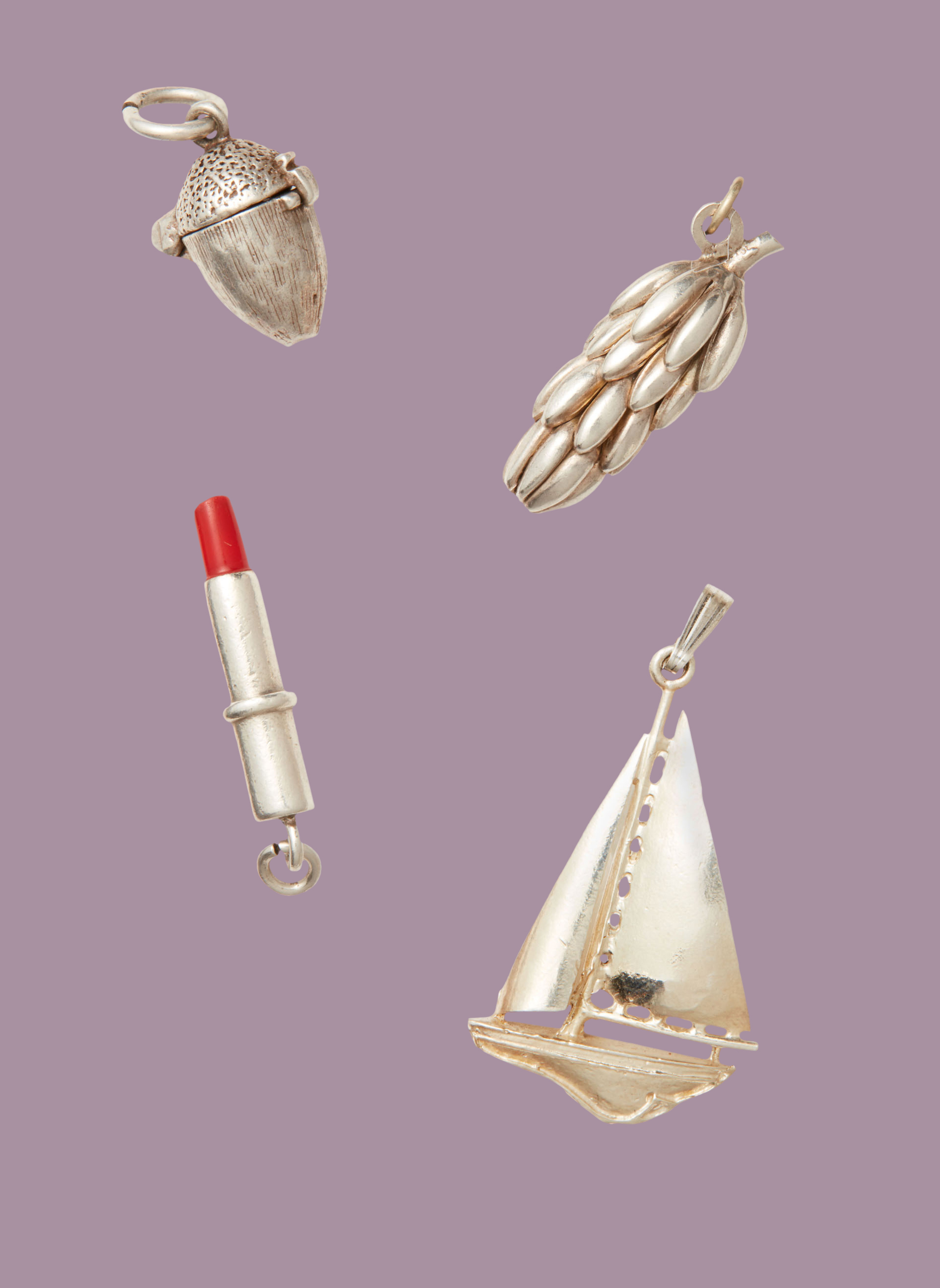 four vintage charms acorn banana bunch lipstick sailboat