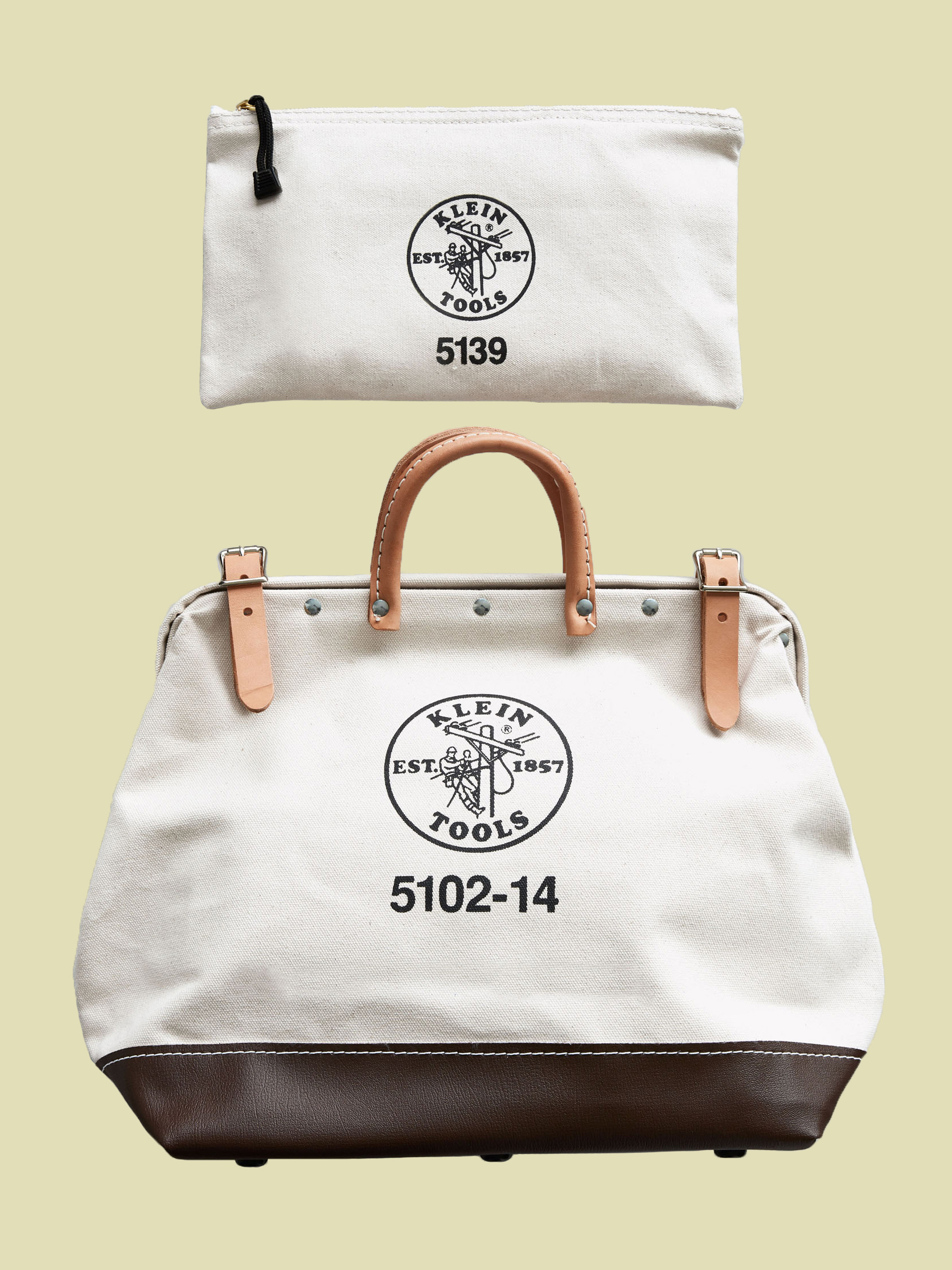 logo stamped canvas tool bags
