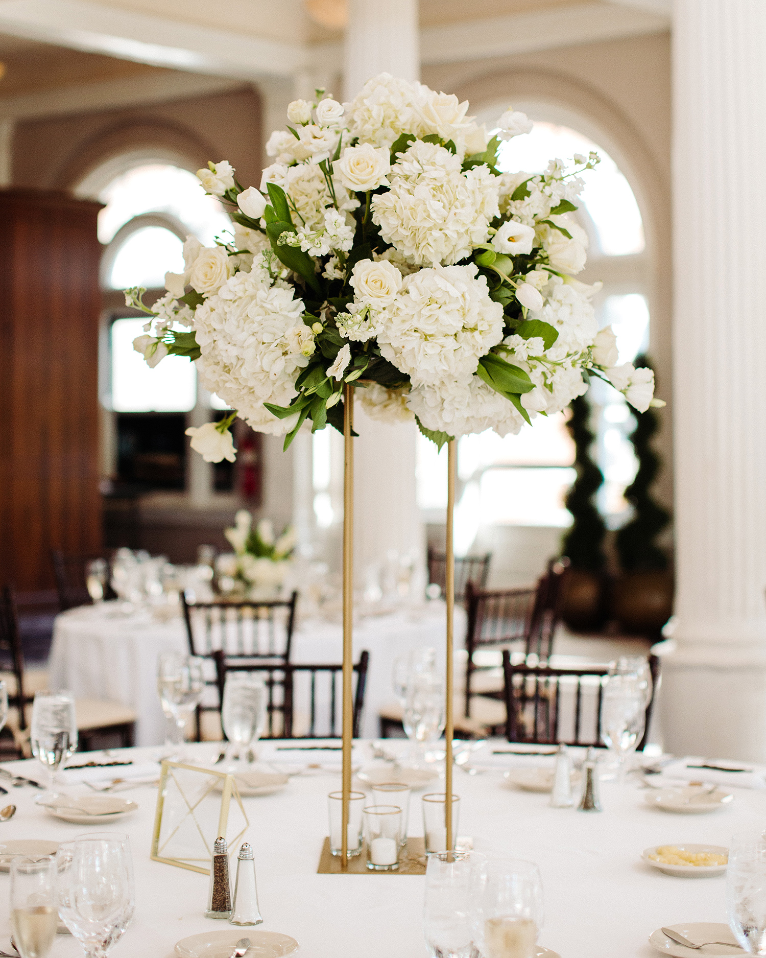 bryanna nick wedding tall floral reception table centerpieces