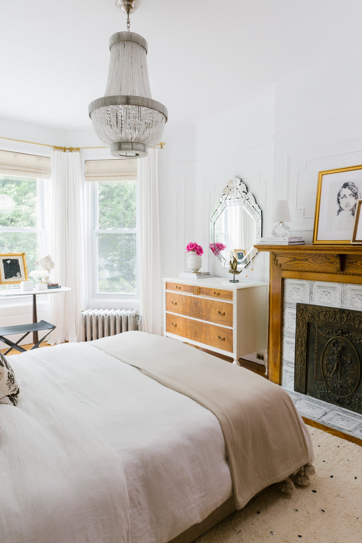 shelby nyc apartment bedroom white and natural wooden dresser