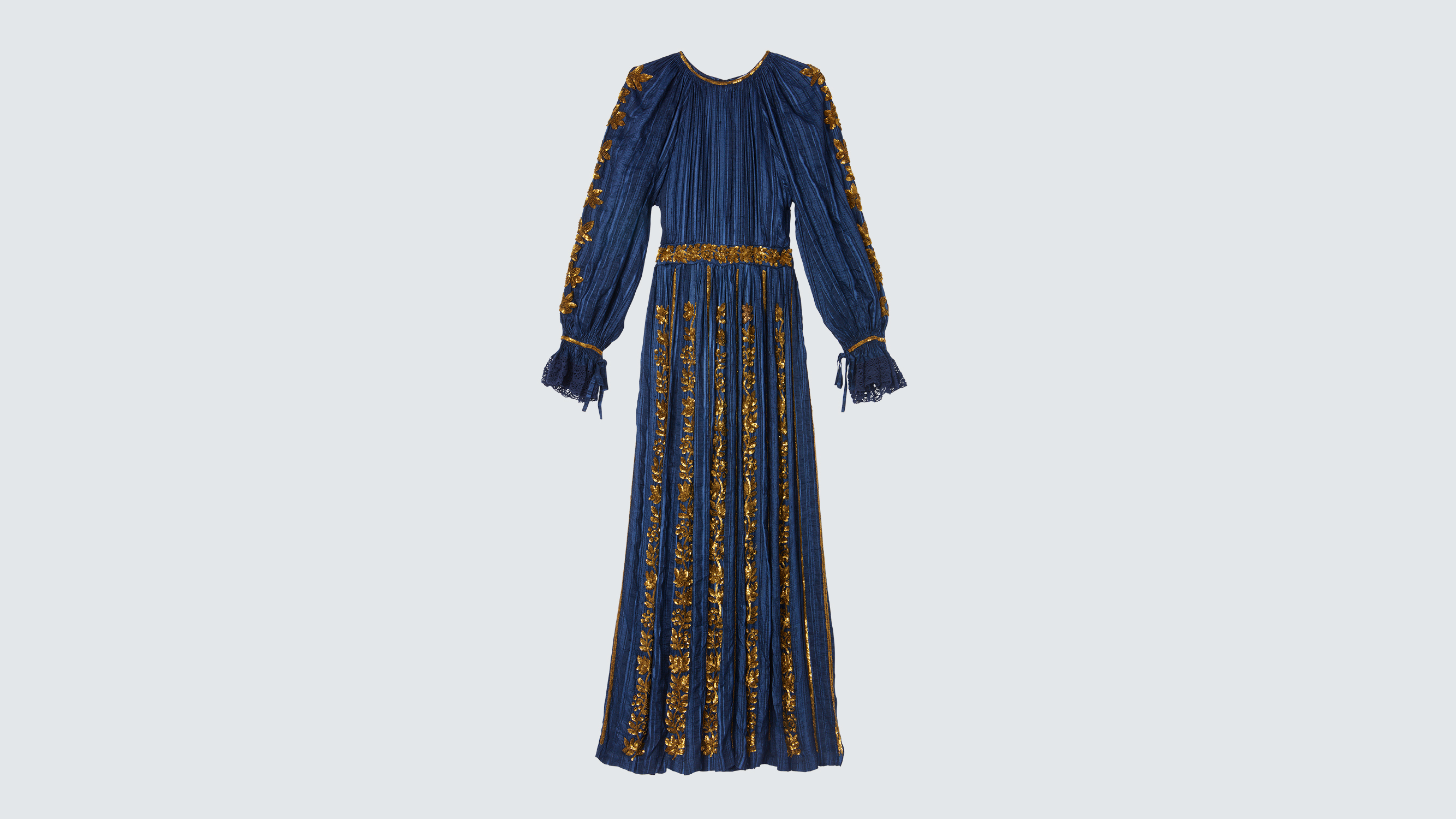 blue and gold party dress
