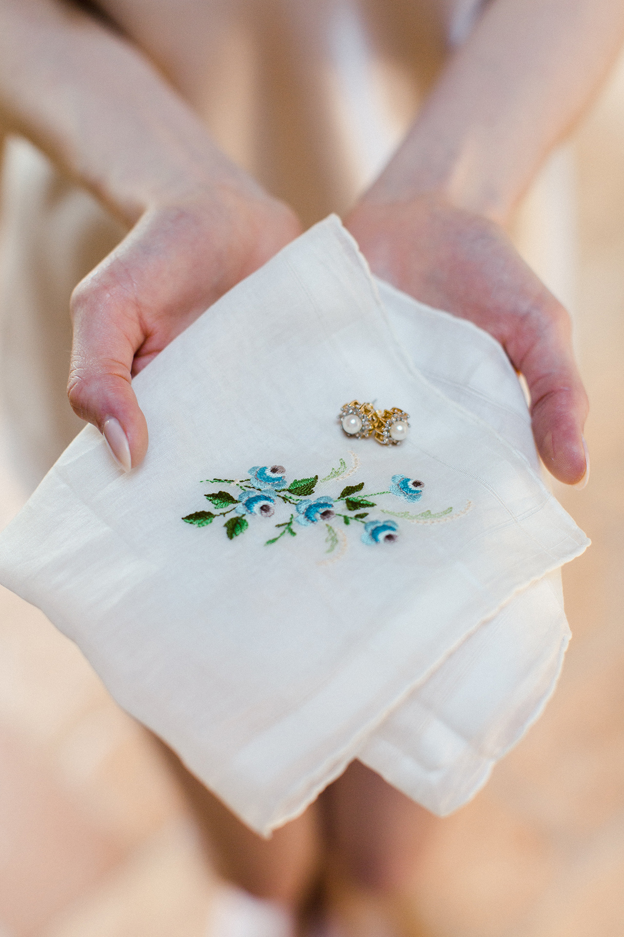bride embroidered handkerchief pearl earring