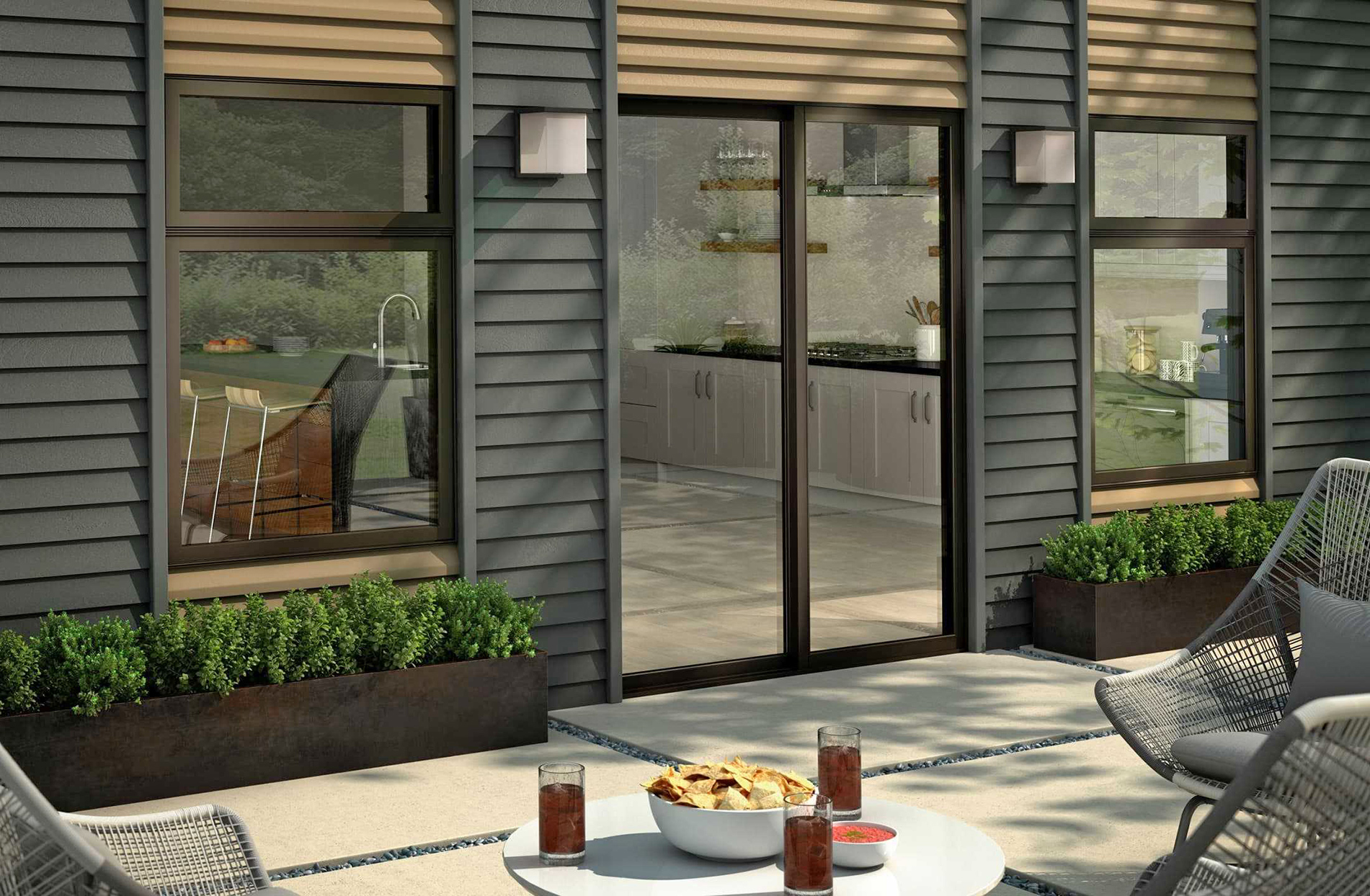sliding patio door from kitchen to back deck
