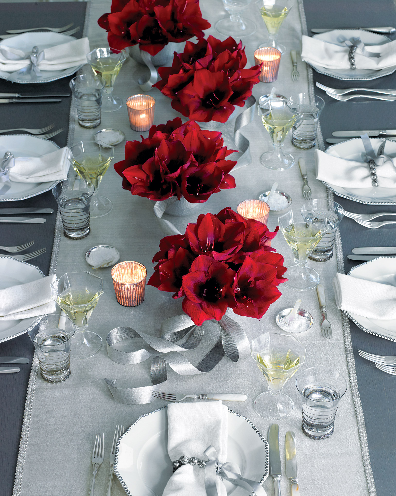 Crimson and Silver Table Setting