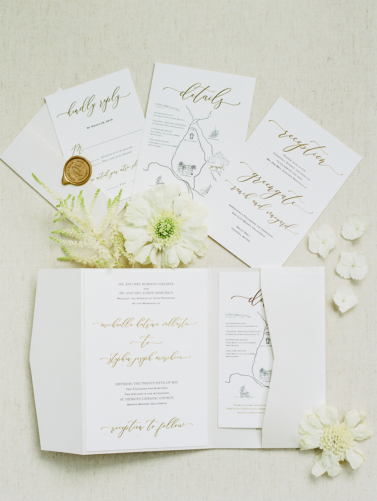 mike steve simple elegant white wedding invitations