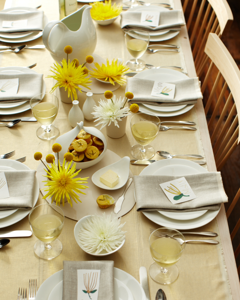 Bright Yellow Table Setting