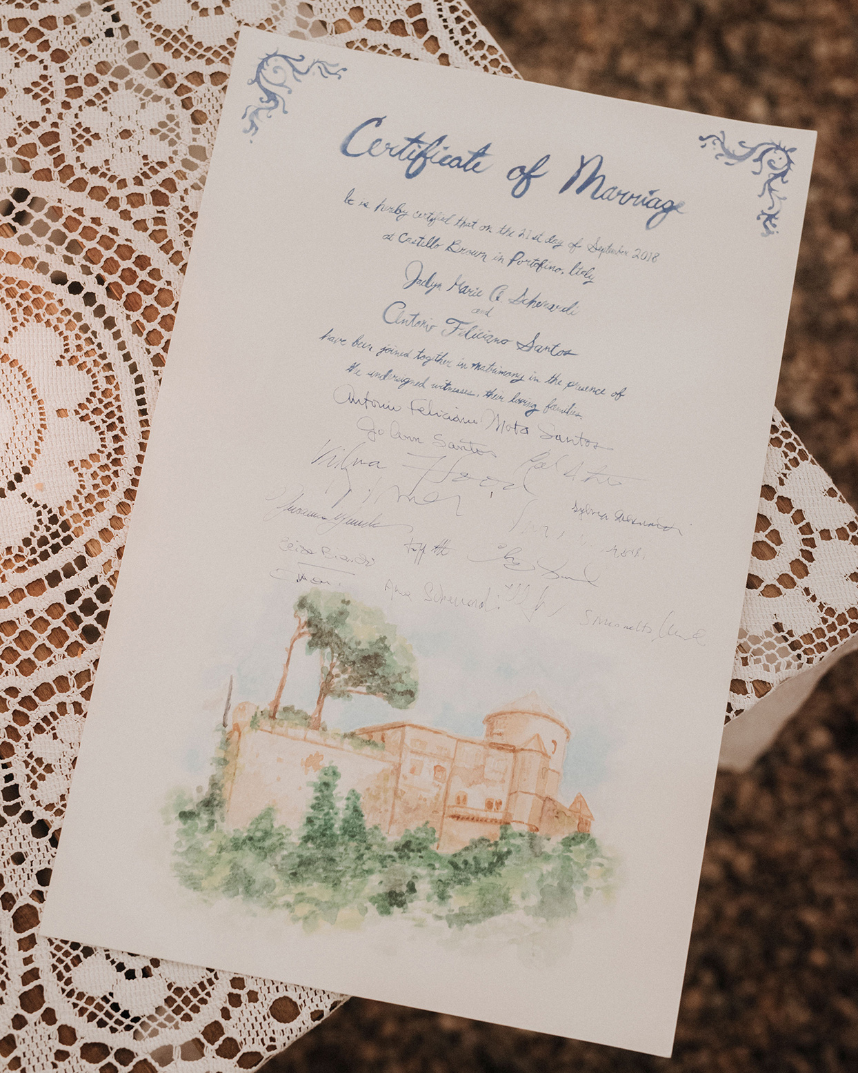 jaclyn antonio wedding watercolor certificate of marriage