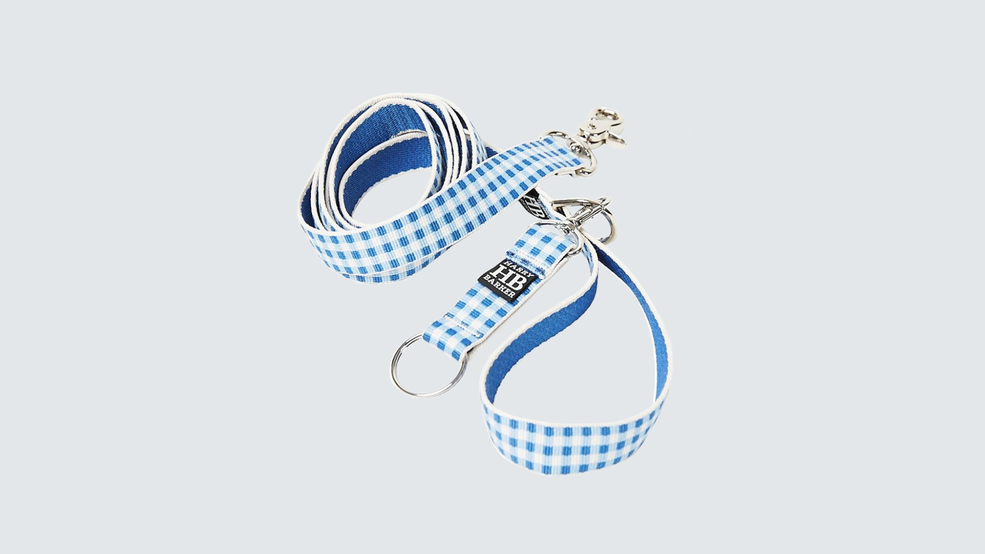 Harry Barker Gingham Blue Dog Leash