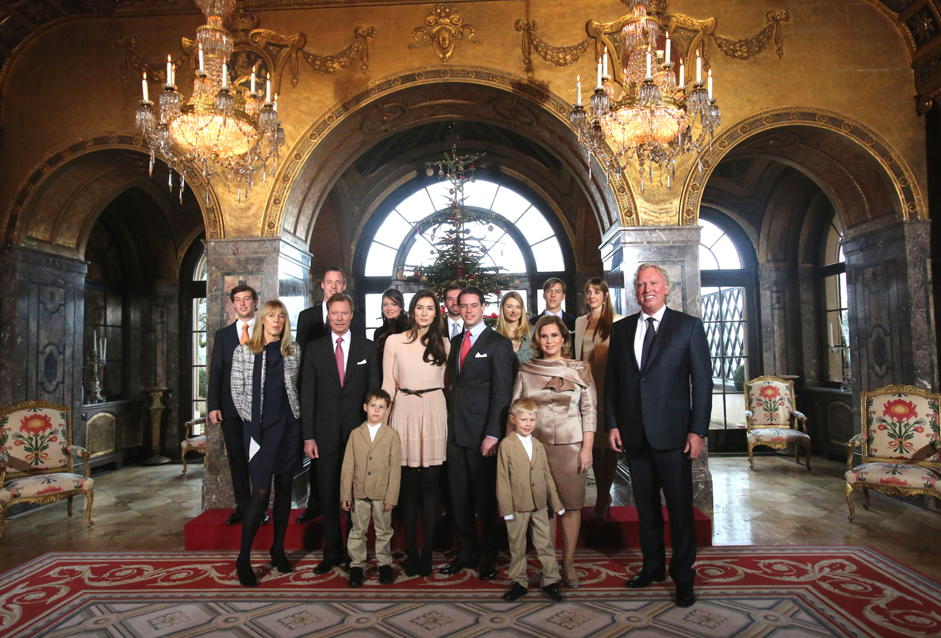 Grand Ducal Family of Luxembourg Pose at Holiday Tree