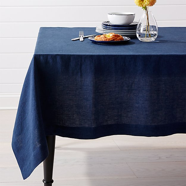 Crate and Barrel Helena Indigo Blue Linen Tablecloth