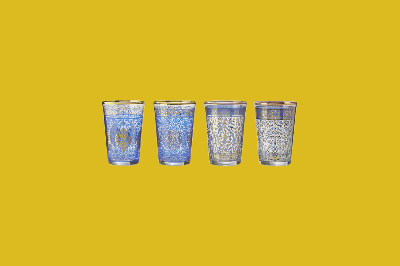 Williams Sonoma Blue Mosaic Tumblers